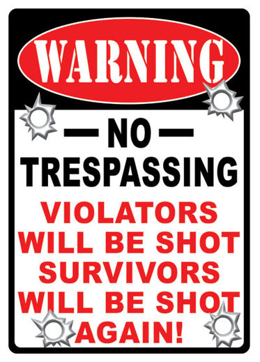 Large Tin Sign   No Trespassing