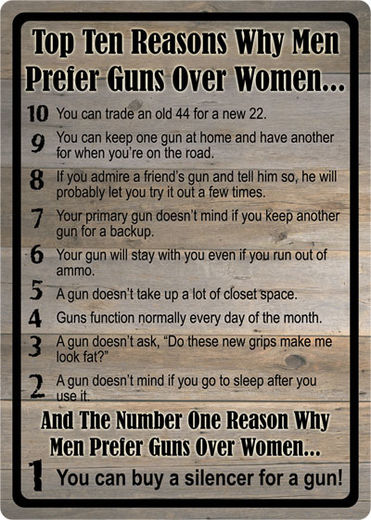 Large Tin Sign   Top Ten Reasons Why Men Prefer Guns Over Women