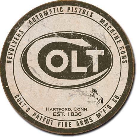 Round Tin Sign   Colt