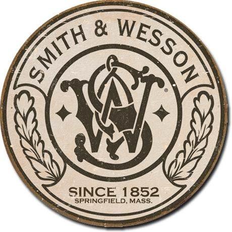 Round Tin Sign   Smith + Wesson