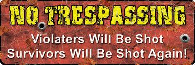 Small Tin Sign   No Trespassing