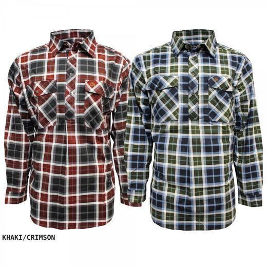 Swanndri Egmont Menand39s Long Sleeve Khaki  Crimson Twin Pack
