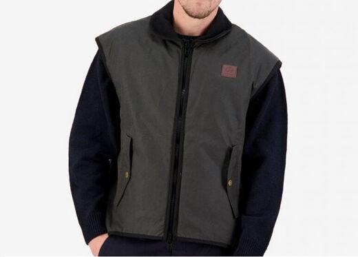Swanndri Men+39s Foxton Brown Oilskin Vest With Wool Lining