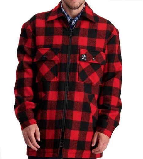 Swanndri Men+39s Longford Wool Shacket Red  Black Check