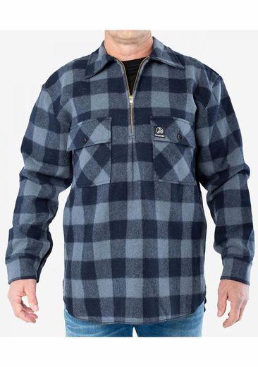 Swanndri Menand39s Ranger Slate  Navy Wool Check Shirt