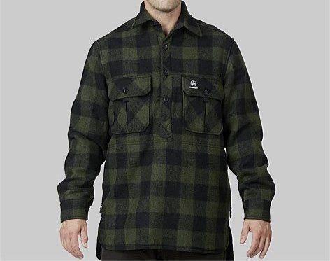 Swanndri Mens Ranger Extreme OliveBlack Check Wool Shirt