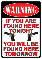 Large Tin Sign - Warning You're Found