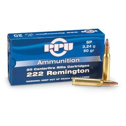 PPU 222Rem 50Grain Soft Point 20 Rounds