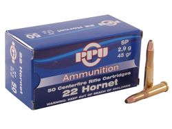 PPU 22Hornet 45Grain Soft Point 50 Rounds