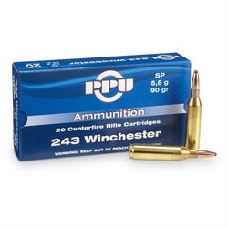 PPU 243Win 90Grain Soft Point 20 Rounds