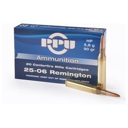 PPU 25-06Rem 100Grain Pointed Soft Point 20 Rounds