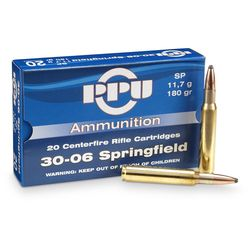 PPU 30-06Sprg 180Grain Soft Point 20 Rounds