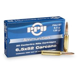 PPU 6.5x52Carcano 139Grain Soft Point Boat Tail 20 Rounds