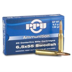 PPU 6.5x55Swedish 139Grain Soft Point Boat Tail 20 Rounds