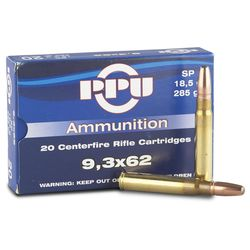 PPU 9.3X62 285Grain Soft Point 20 Rounds