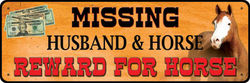 Small Tin Sign - Missing Husband