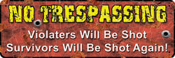 Small Tin Sign - No Trespassing