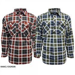 Swanndri Egmont Men's Khaki / Crimson Check Shirt Twin Pack