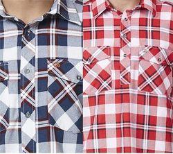 Swanndri Egmont Men's Navy / Red Check Shirt Twin Pack