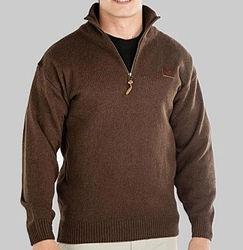 Swanndri Mariner Zip Neck Brown Sweater
