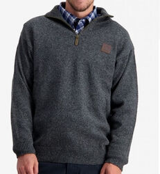 Swanndri Mariner Zip Neck Charcoal Sweater