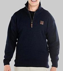 Swanndri Mariner Zip Neck Navy Sweater